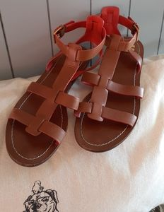 Tory Burch-Camel Leather Gladiator Sandals,Size 7